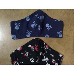Rouška černá, modrá s lebkami