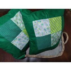 Polštář zelený patchwork