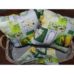 Polštář zeleno-žlutý patchwork