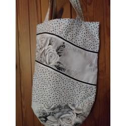 Látková taška šedá s růží