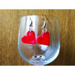 Fimo červené náušnice - srdce